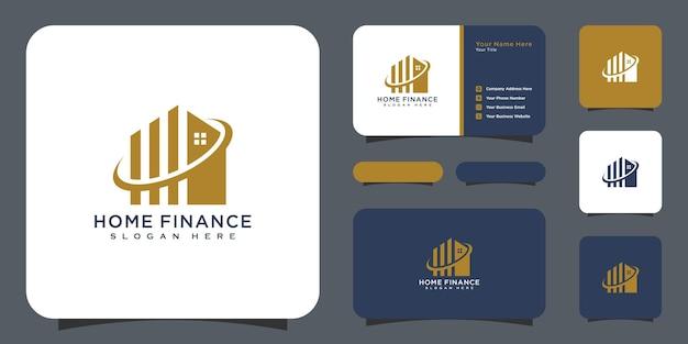 Huis en bedrijf financiën logo ontwerp vector