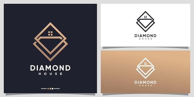 Huis- en diamantlogo-ontwerpinspiratie met lijnkunststijl premium vector
