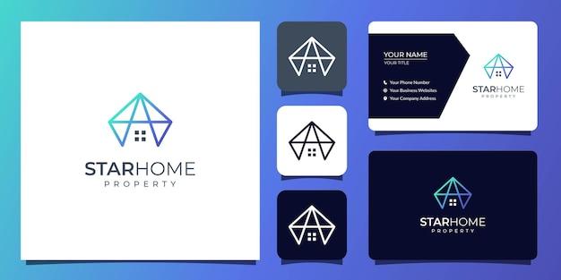 Huis en eigendom logo met sjabloon voor visitekaartjes