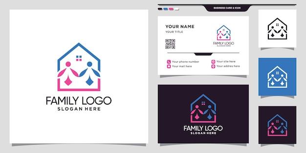 Huis- en familielogo met creatief modern concept en visitekaartjeontwerp premim vector