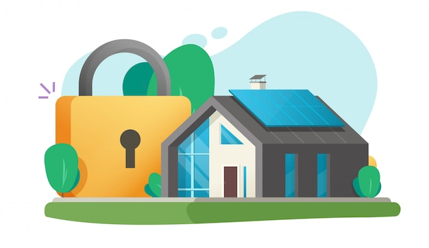 Huis en huis het veilige concept van de beschermingsverzekering zoals beschermd met illustratie van het de veiligheidssysteem van het slotveiligheid