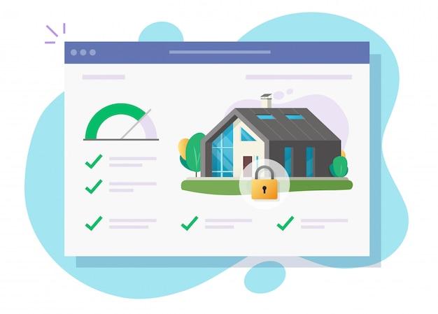 Huis- en huisveiligheidsslotbewaking controleer software online systeem of digitaal appartement aangesloten op slimme alarmafstandsbediening websysteem