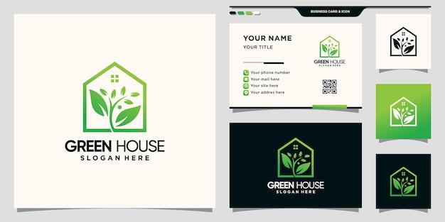 Huis en natuurlijk bladlogo met lijnkunststijl en visitekaartjeontwerp premium vector