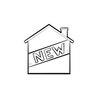 Huis en nieuwe tekst hand getrokken schets doodle pictogram. gebouw, landgoed, hypotheek, modern huis te koop concept. schets vectorillustratie voor print, web, mobiel en infographics op witte achtergrond.