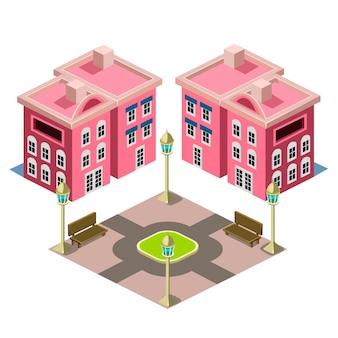 Huis en park gebouw illustratie
