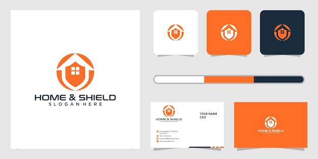 Huis en schild logo ontwerp en sjabloon voor visitekaartjes