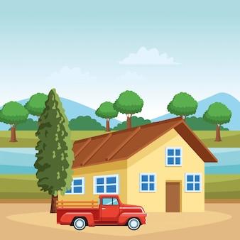 Huis en vrachtwagen