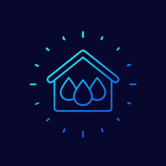 Huis en water lijn vector icon