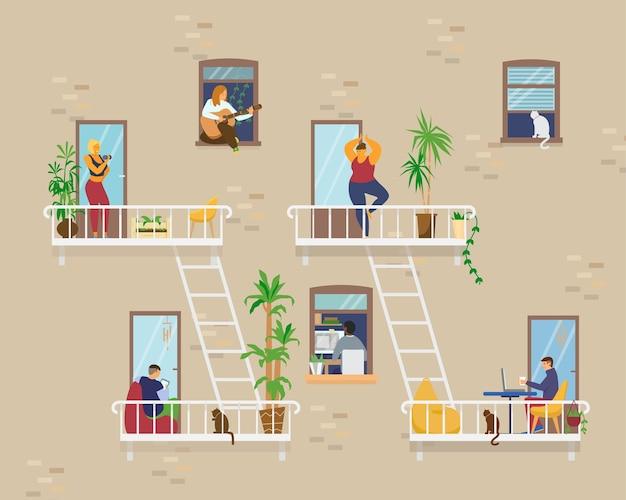 Huis exterieur met mensen in ramen en balkons die thuis blijven en verschillende activiteiten doen: studeren, gitaar spelen, werken, yoga doen, koken, lezen. vlak