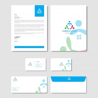 Huis familie logo met briefpapier sjabloon