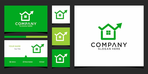 Huis financieel logo-ontwerp met zakelijke kaartsjabloon