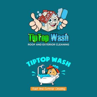Huis gebouw interieur en exterieur schoonmaak service logo