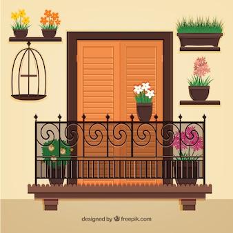 Huis gevel met een balkon
