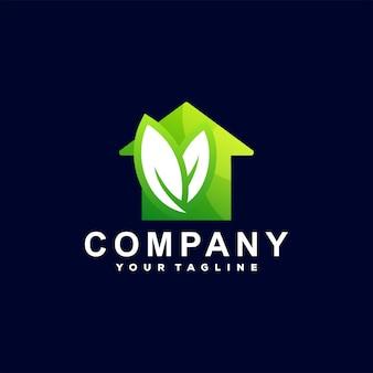 Huis groen kleurverloop logo ontwerp