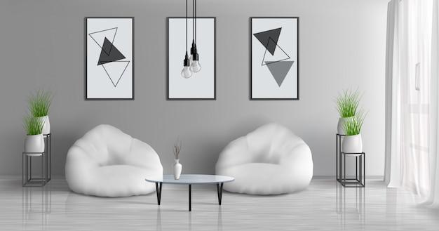 Huis hal, moderne appartement zonnige woonkamer 3d-realistische vector interieur met koffietafel in de buurt van twee straal tas stoelen in het midden van de kamer, schilderijen, fotolijsten op grijze muur, bloempotten illustratie