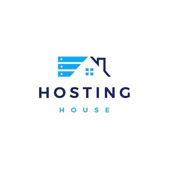 Huis home hosting server cloud data opslag logo vector pictogram illustratie
