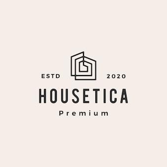 Huis huis hypotheek dak architect hipster vintage logo pictogram illustratie
