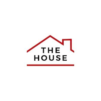 Huis huis onroerend goed hypotheek dak schoorsteen logo vector pictogram illustratie