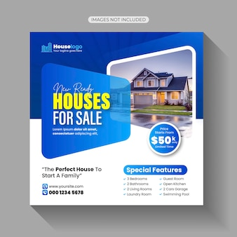 Huis huis te koop verkoop social media bericht sjabloon