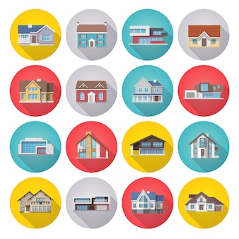 Huis icons flat set
