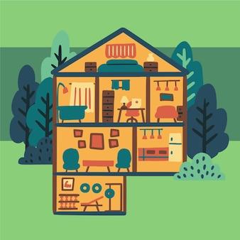Huis illustratie in doorsnede