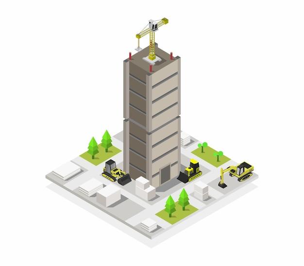 Huis in aanbouw isometrisch