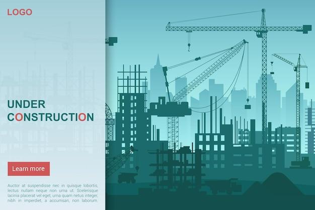 Huis in aanbouw, sjabloon voor bestemmingspagina voor startpagina van architecturaal bouwbedrijf