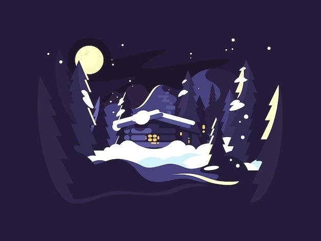 Huis in de boswinter. nachtbos met houten huis in sneeuw. vector illustratie
