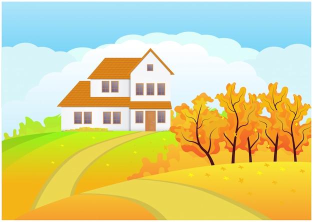 Huis in de lente of zomer