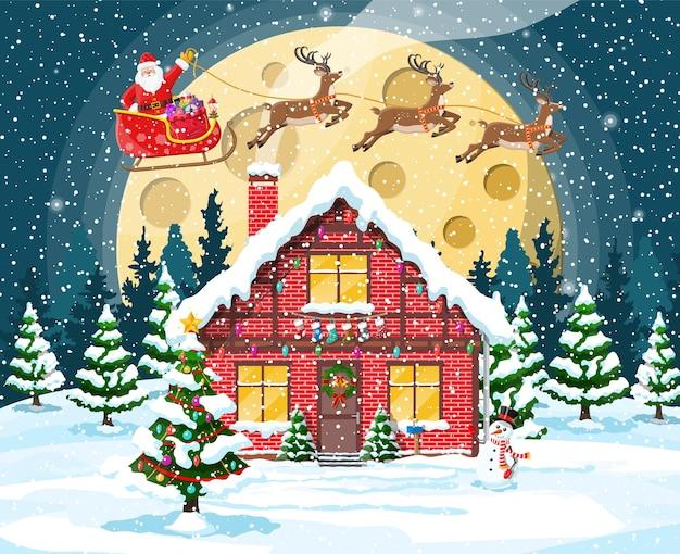Huis in de voorsteden bedekt met sneeuw met maan en bomen