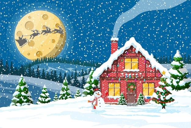 Huis in de voorsteden bedekt met sneeuw met maan en bos
