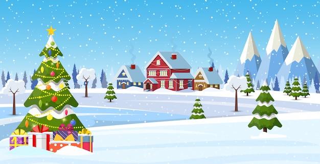 Huis in de voorsteden bedekt met sneeuw.