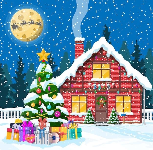 Huis in de voorsteden bedekt sneeuw met maan en boom