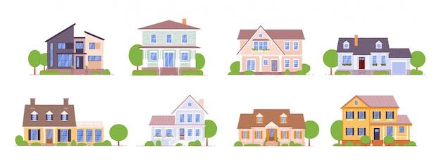 Huis in de voorsteden dat op witte achtergrond wordt geplaatst