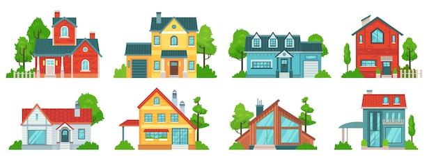 Huis in de voorsteden. gevels van onroerend goed, herenhuizen en landhuizen met dakbedekking.