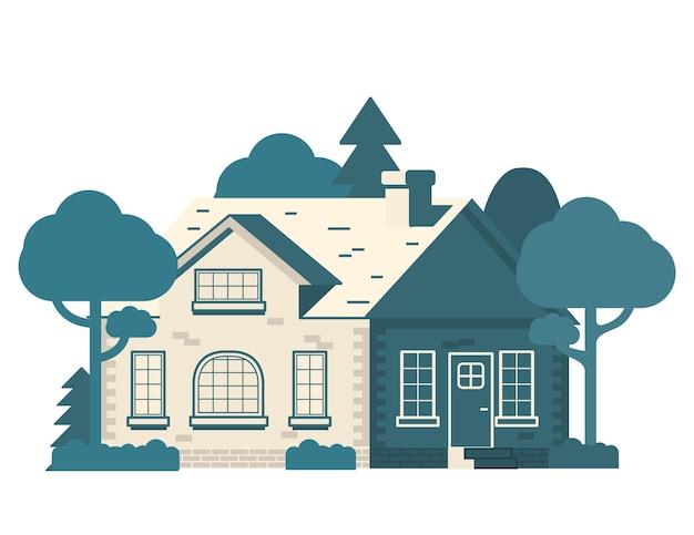 Huis in de voorsteden met bomen