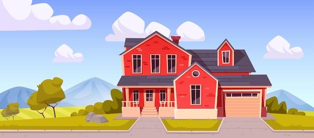 Huis in de voorsteden op het platteland