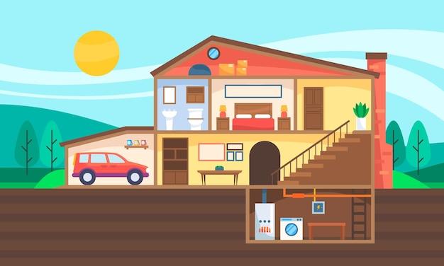 Huis in doorsnede afbeelding
