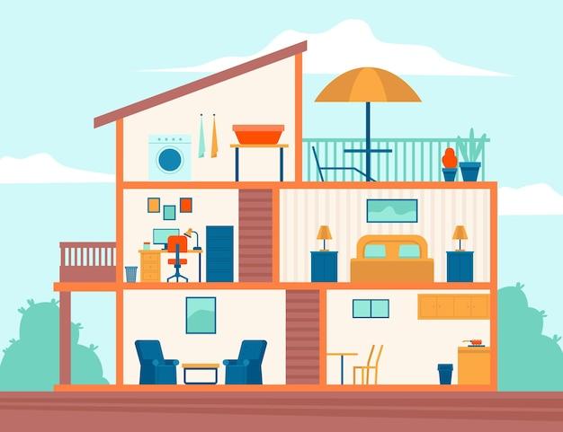 Huis in doorsnede concept