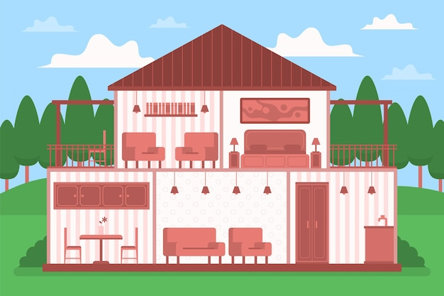 Huis in doorsnede illustratie