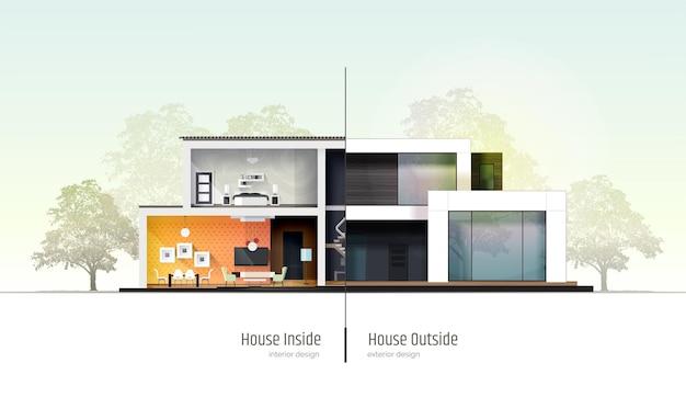 Huis in doorsnede modern huis in loftstijl villa cottage herenhuis met schaduwen