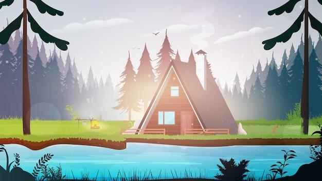Huis in het bos. bos met een rivier.