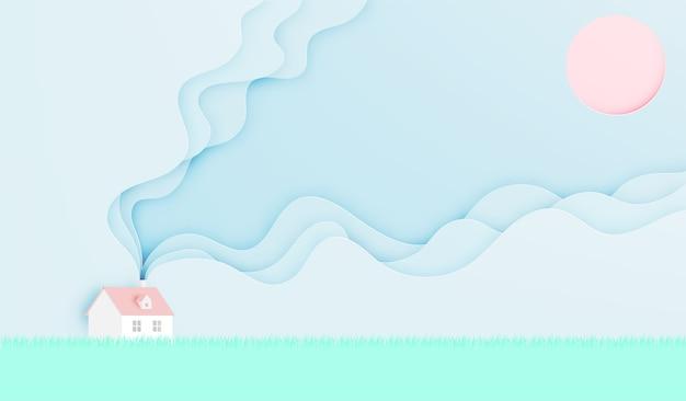 Huis in het voorjaar zomerseizoen in papier kunststijl met pastel kleurenschema vector illustrat