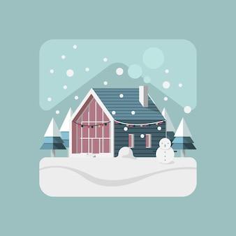 Huis in wintersneeuw