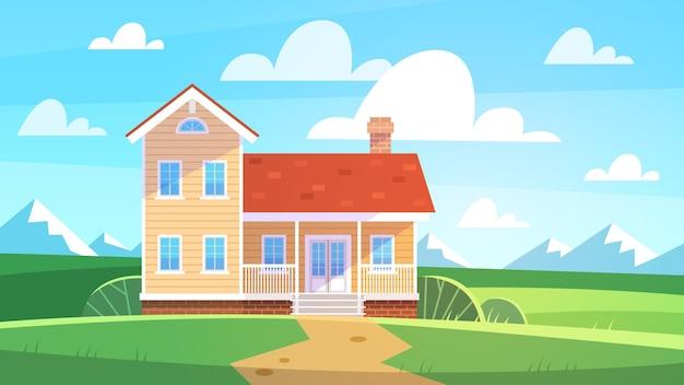 Huis in zomerlandschap. huisje in plattelandsbomen, weiden en groene heuvels, blauwe hemel. vooraanzicht gebouw met terras, levensstijl op natuur seizoensgebonden poster onroerend goed platte vector achtergrond