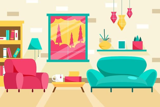 Huis interieur blauwe bank en roze fauteuil
