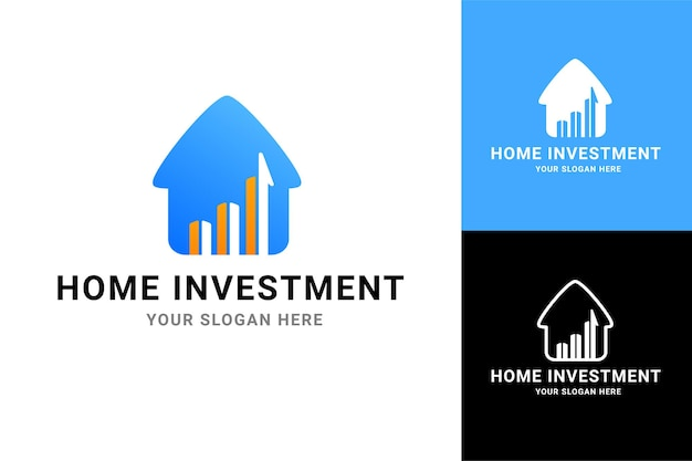 Huis investeringen illustratie voor onroerend goed bedrijf bedrijfslogo vector ontwerpsjabloon set