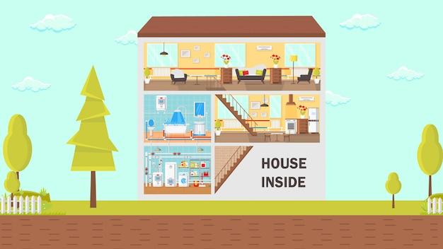 Huis inzicht concept platte vectorillustratie.