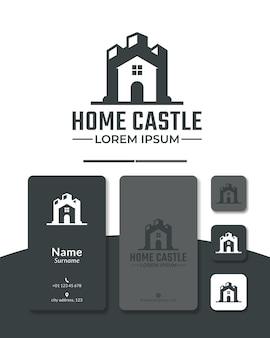Huis kasteel logo ontwerp vector fort paleis