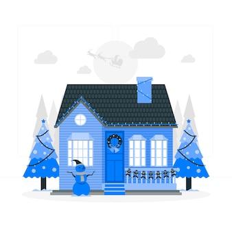 Huis kerstversiering concept illustratie